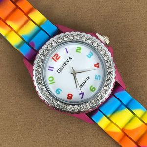 Rainbow Geneva Multi Color Silver Pink Watch